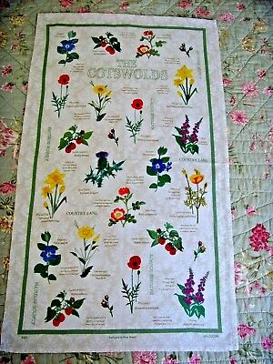 Rare Vintage Hand Embroidered Panel Tea Cloth ' The Cotswolds ' Flowers Lovely