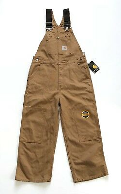 "Carhartt Kids Youth Bib Overalls Cotton Canvas Brown (Size 8) 20"" Inseam NEW NWT"
