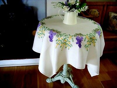 Beautiful Vintage Linen Hand Embroidered Floral Tablecloth Lilac & Mimosa Wreath