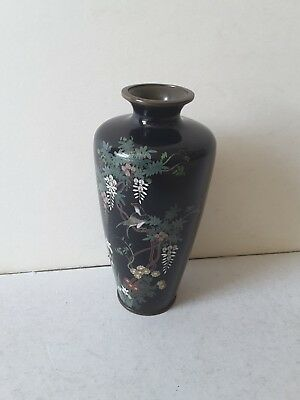 QUALITY ANTIQUE JAPANESE CLOISONNE ( SILVER WIRE ) VASE.      c.1900.