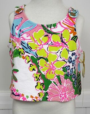 Lilly Pulitzer Girls Tank Top Pink Blue Green White Print Floral Small 6 6X