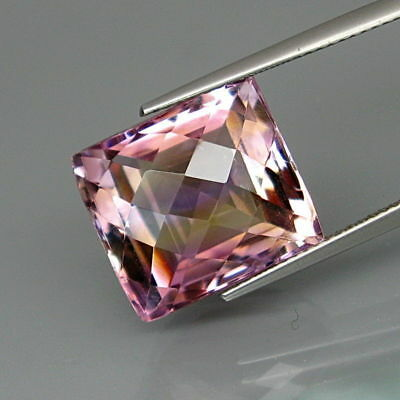 14.46Ct.Real Natural BIG Purple&Golden Bolivia Ametrine Checkerboard Eye Clean!