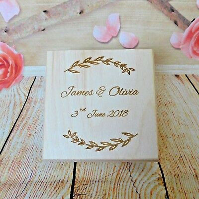 Personalised Wooden Wedding Memento Box Laser Engraved Leaves Wreath Memory Box