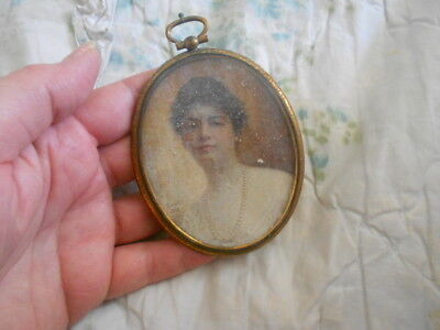 Antique Miniature Portrait Painting of a Lady - personal painting