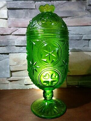 green glass candy dish ? pedestal foot lid cut ? vintage rare glass