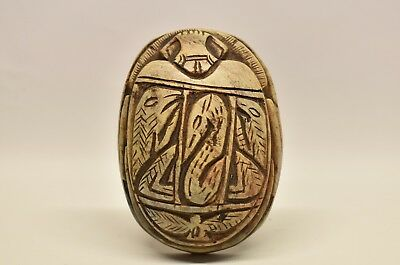 Antique Egyptian Large Carved Stone Scarab Beetle