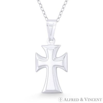Medieval Cross Pattée Formée Hollow .925 Sterling Silver Christian Charm Pendant