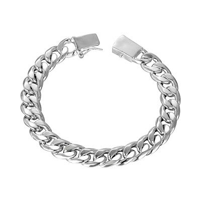 """18K White Gold Plated Curb Chain Bracelet with Closure 7.8"""" ITALY"""