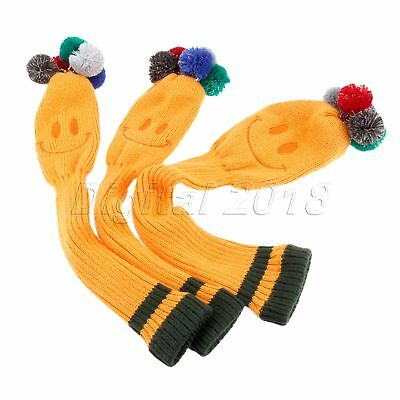 3Pcs Golf Club Knitted Headcover Covers For Titleist Taylormade NO. 1 3 5 Yellow