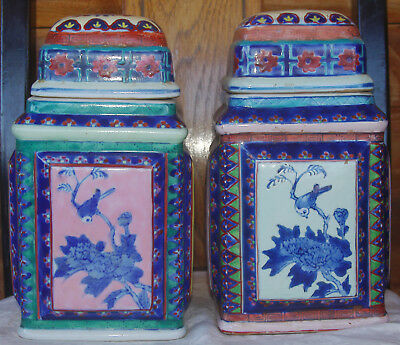Antique 19 C. Chinese Pair of Porcelain Ginger Jars Signed Rare