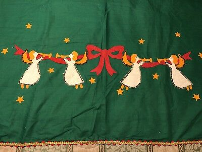 Vintage HAND MADE Christmas Tablecloth with Metallic and Rick Rack Trim 104x90