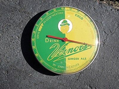 """Vintage Advertising Drink Vernor's Ginger Ale 12"""" Round Metal Glass Thermometer"""