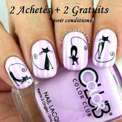 ❤️nouveau Stickers Chats Bijoux Ongles Water Decals Stickers Nail Art Manucure