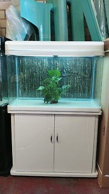 2.8ft Curved Glass Fish Tank, Cabinet and hood with lights Brandnew Complete Set