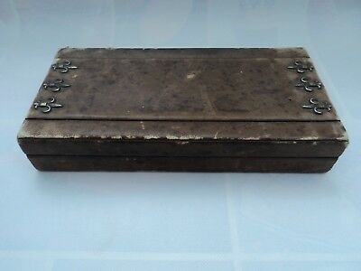 Antique Vintage playing cards Rare wooden box. 2 Deck Leather Storage Case