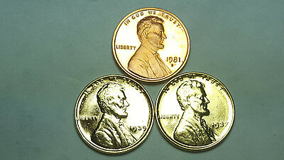 1981 S Proof Lincoln Cent T2 Clear S Deep Cameo + (2) 24K Gold PL Lincoln Wheat