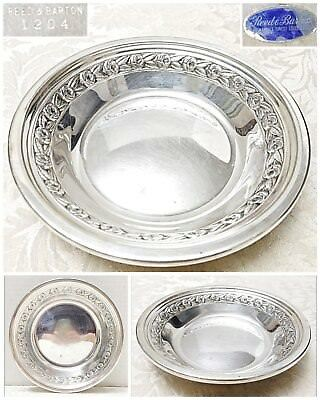 "Vintage Reed & Barton Silver Plated Nut Dish #1204 Band of Roses, 6"" Dia 1"" Tall"