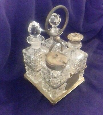 Vintage Silver Plated and Crystal 4 Piece Condiment Set Unknown Maker