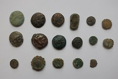 No Reserve: Lot of 17 Semi Cleaned Ancient Greek Coins!