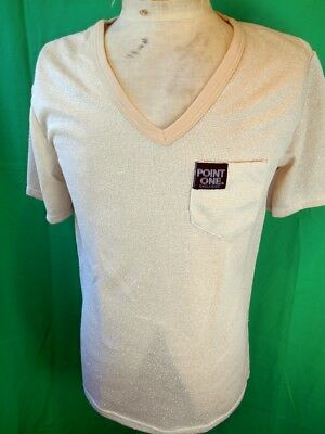 Vintage 1980s Tan Cream Point One PolyCotton Summer Weight V-neck Top T-shirt M