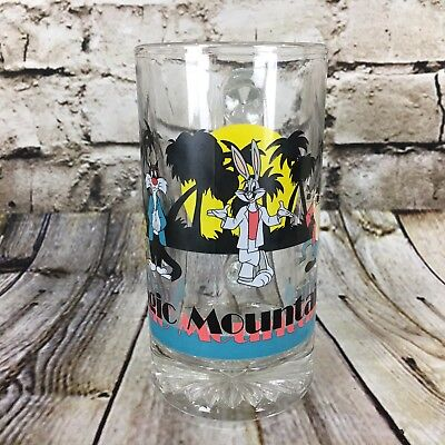 Six Flags Magic Mountain Looney Tunes Miami Vice Style Vintage 1987 Glass Mug