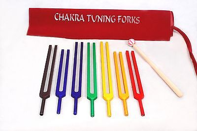 7 CHAKRA Tuning Fork Color Therapy Energy Healing + Mallet+FAST SHIP