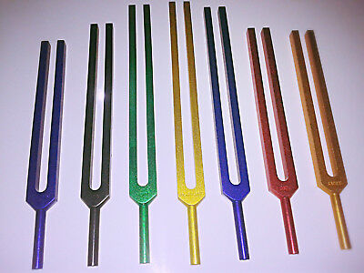 new 7 CHAKRA Tuning Fork Color Therapy Energy Healing + Mallet+FAST SHIP