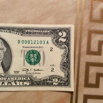 U.S. Currency Series 2009 RARE $2 Dollar Bill in Great Shape ( New York)