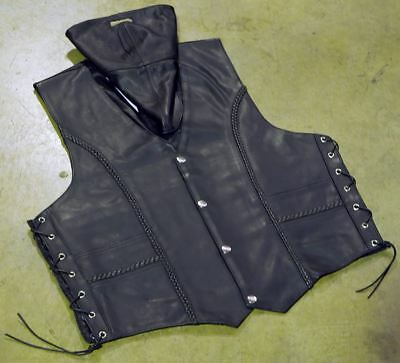 Leather motorcycle vest biker, braided, snap buttons, adjustable LARGE Clearance