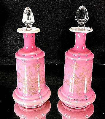 Victorian Cased Glass Cologne Bottles Pink W Gilded Flowers Pair