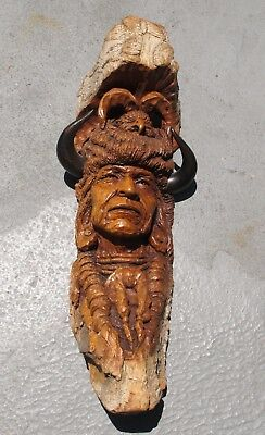 Wood/bark hand carved Indian chief