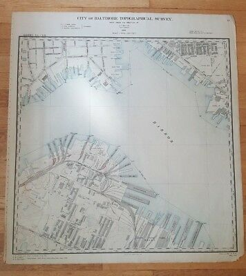 ANTIQUE Map - City of Baltimore Topog. Survey - 1897-FELLS POINT/UNDER ARMOUR