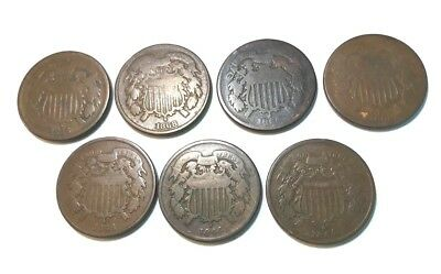 Lot of 7 US 2 Two Cent Pieces 1864 (3),1865, 1868, 1868 Countersamped,1869