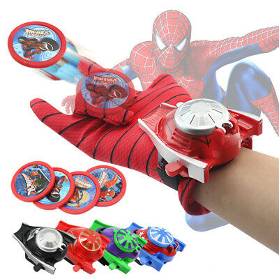 Spiderman Halloween Cosplay Props Kids Toy Gloves Launcher with 4 Frisbee