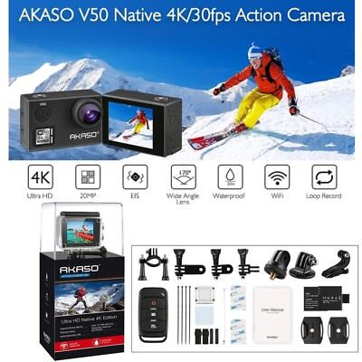 AKASO V50 Ultra HD 4K WIFI Sports Action Camera Waterproof 20MP DV Camcorder EIS