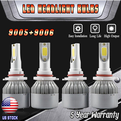 Combo 9005 9006 LED Headlight Bulbs Kit for Chevy Silverado 1500 2500 1999-2006