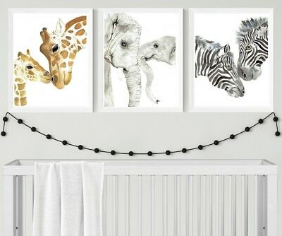 A3 Mother and Baby Safari Animal Prints - neutral nursery prints