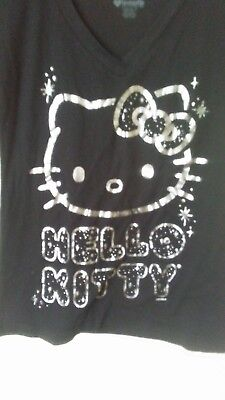 9cd836946 Sanrio Loungefly Hello Kitty Black T Shirt, Silver Foil Print, Size S
