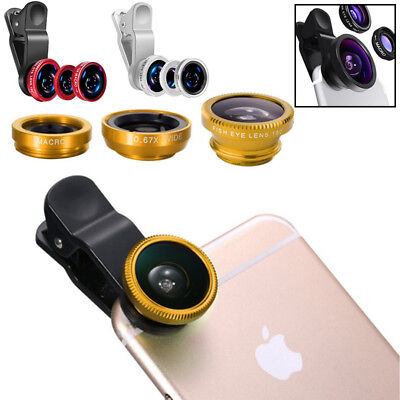 3in1 Clip Fish Eye+Macro+Wide Angle Lens Camera Kit for Cellphone iPhone/Samsung