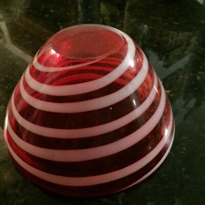 ART GLASS BOWL**BRIGHT RED with WHITE SWIRL** TAPERED**HAND BLOWN