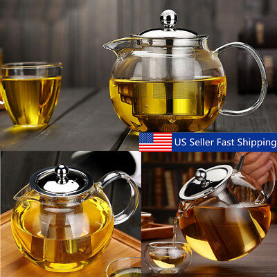 20-45 Ounce Heat Resistant Glass Teapot with Infuser&Lid Coffee Tea Herbal Set