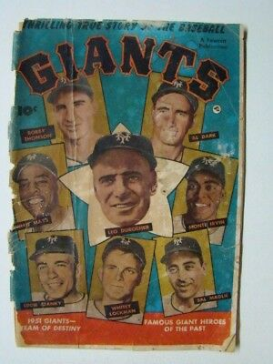 Thrilling True Story of Baseball Giants Comic Book Willie Mays Photo 1952 Fair
