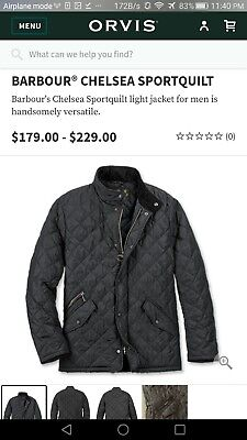 Barbour Men's Navy blue Chelsea Sportsquilt Quilted Jacket $225 XL Extra Large 2