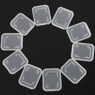 FT- 10Pcs Clear Plastic Standard SD SDHC Memory Card Case Storage Holder Box Gra