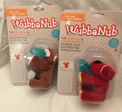 Lot Of 2 New WubbaNub Infant Pacifier~ Choice Of Dog And Fox