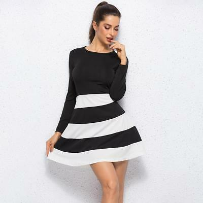 Womens Spring Stripes Dress Long Sleeves Casual Loose Beach Sundress Mini Dress