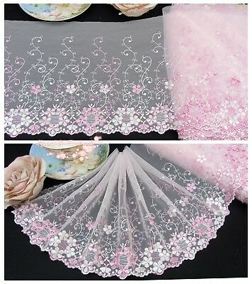 """8""""*1Y Embroidered Floral Tulle Lace Trim~Pink+White~Sweet Garden Angel~Lovely~"""