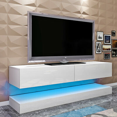 Modern Floating TV Cabinet AIRCRAFT Hanging TV Stand TV Wall Unit with LED Light