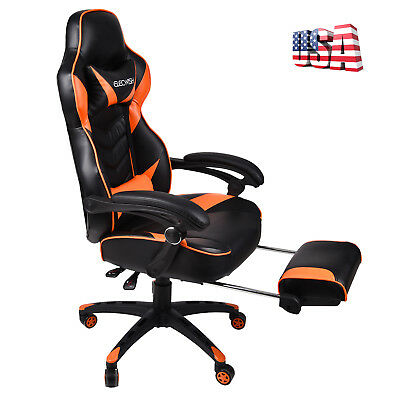 High Back Race Car Style Computer Seat Office Desk Chair Gaming Chair Footrest