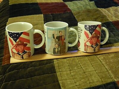 Boy Scouts of America (LOT of 3) Ceramic (MUGS_CUPS) Norman Rockwell Ltd Vtg USA